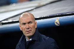 Real Madrid's coach Zinedine Zidane during the UEFA Champions League quarter final second leg match Real Madrid v Juventus at the Santiago Bernabeu stadium in Madrid, Spain, April 11, 2018. Photo by Acero/AlterPhotos/ABACAPRESS.COM