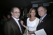 SALMAN RUSHDIE, CAROLINE MICHEL AND ANTONY HOLDEN. Royal Festival Hall First Night Gala. Southbank Centre. London. 11 June 2007.  -DO NOT ARCHIVE-© Copyright Photograph by Dafydd Jones. 248 Clapham Rd. London SW9 0PZ. Tel 0207 820 0771. www.dafjones.com.