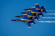 The Blue Angels echelon parade pass at the Airshow of the Cascades.