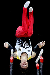 Germany's Marcel Nguyen competes on the parallel bars in the Men's Gymnastics Team Final during day ten of the 2018 European Championships at the SSE Hydro, Glasgow.