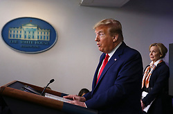 President Donald Trump delivers remarks on the COVID-19 pandemic with Coronavirus Response Coordinator Ambassador Debbie Birx at the White House in Washington, D.C. on Saturday, April 18, 2020. Photo by Tasos Katopodis/Pool/ABACAPRESS.COM