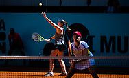 Anastasia Pavlyuchenkova of Russia and Jelena Ostapenko of Latvia in action during the doubles semi-final of the Mutua Madrid Open 2021, Masters 1000 tennis tournament on May 7, 2021 at La Caja Magica in Madrid, Spain - Photo Rob Prange / Spain ProSportsImages / DPPI / ProSportsImages / DPPI