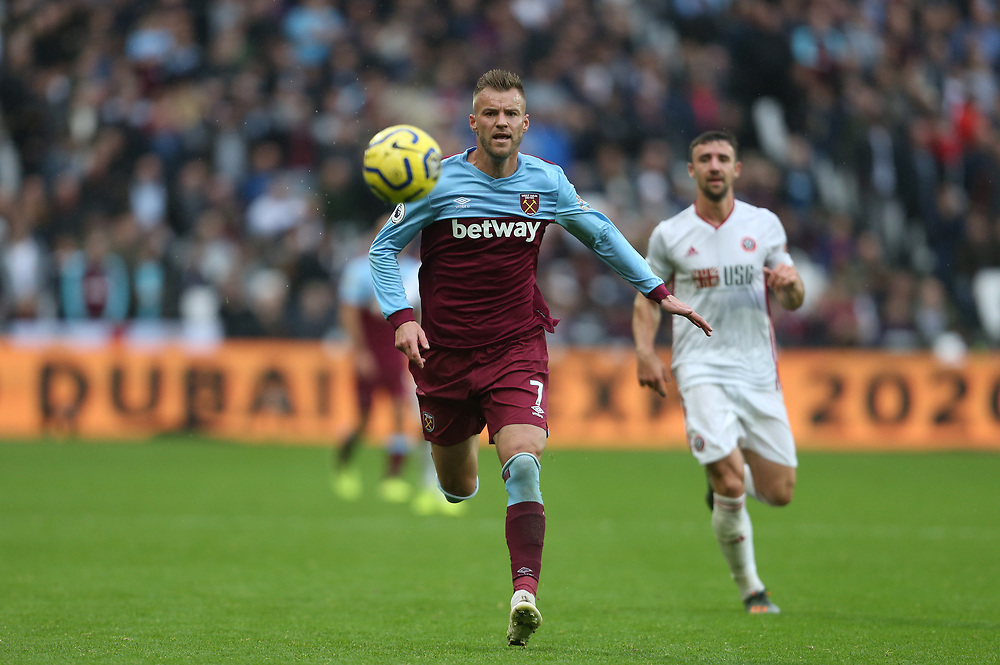 West Ham United's Andriy Yarmolenko<br /> <br /> Photographer Rob Newell/CameraSport<br /> <br /> The Premier League - Saturday 26th October 2019 - West Ham United v Sheffield United - London Stadium - London<br /> <br /> World Copyright © 2019 CameraSport. All rights reserved. 43 Linden Ave. Countesthorpe. Leicester. England. LE8 5PG - Tel: +44 (0) 116 277 4147 - admin@camerasport.com - www.camerasport.com