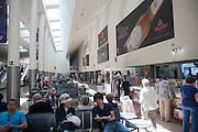 People waiting at Granada bus station, Spain