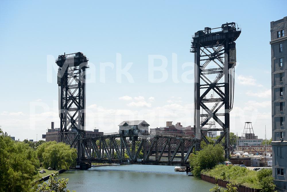 Amtrak vertical lift bridge (Pennsylvania Railroad Bridge 463) over the Chicago River in Chicago on Wednesday, Aug. 19, 2020.  Photo by Mark Black