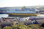 Transmanche Ferries ferry ship arriving at Newhaven, East Sussex, England