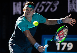 MELBOUREN, Jan. 19, 2019  Milos Raonic of Canada is in action.    during the men's singles third round match between Milos Raonic of Canada and Pierre-Hugues Herbert of France at 2019 Australian Open at Melbourne Park in Melbourne, Australia, on Jan. 19, 2019. (Credit Image: © Elizabeth Xue Bai/Xinhua via ZUMA Wire)