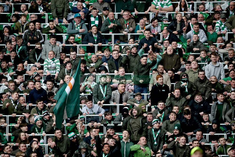 Celtic fans in the safe standing area during the Ladbrokes Scottish Premiership match at Celtic Park, Glasgow.