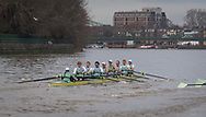 *** during the Cambridge University Trial Eights in preparation for the Boat Race on the Thames, London, United Kingdom on 10 December 2018.<br /> <br /> Boat Race Trial VIIIs (Eights) are the only opportunity either side have to race the full course from Putney to Mortlake with the Race Umpires, so provide an important test for rowers and coxes alike.  They allow coaching teams to analyse the progression and potential and are often influential in final selection of crews for the Blue Boats.<br /> <br /> The first Trial Eights race was staged by Oxford 153 years ago in 1859 and Cambridge joined the tradition three years later in 1862.<br /> <br /> CUBC have chosen to commemorate First World War casualties Lieutenant Colonel Roger Kerrison and Lieutenant Lancelot Ridley by naming their Trial Eights crews Roger and Lancelot.<br /> <br /> CUBC crew list:-<br /> Roger (Dark shirts).<br /> Stroke. Freddie Davidson, 7. Tom Strudwick, 6. Gerard Kuenning, 5. Callum Sullivan, 4. Harry Baxter, 3. Harry Sivills, 2. Joe Nash, Bow. Tim Nugent, Cox. Charlie Marcus, <br /> <br /> Lancelot (white shirts).<br /> Stroke. Reggie Mitchell, 7. Rob Harris, 6. Dara Alizadeh, 5. Grant Bitler, 4. Jonty Page, 3. Dave Bell, 2. Hugo Durward, Bow. Theo Weinberger, Cox. Matthew Holland