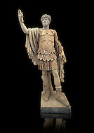 Roman marble sculpture with an unrelated head  of Lucius Verus, body 50-75 AD head 160-169 AD, inv 6081 Farnese Collection, Naples Museum of Archaeology, Italy ..<br /> <br /> If you prefer to buy from our ALAMY STOCK LIBRARY page at https://www.alamy.com/portfolio/paul-williams-funkystock/greco-roman-sculptures.html . Type -    Naples    - into LOWER SEARCH WITHIN GALLERY box - Refine search by adding a subject, place, background colour, etc.<br /> <br /> Visit our ROMAN WORLD PHOTO COLLECTIONS for more photos to download or buy as wall art prints https://funkystock.photoshelter.com/gallery-collection/The-Romans-Art-Artefacts-Antiquities-Historic-Sites-Pictures-Images/C0000r2uLJJo9_s0