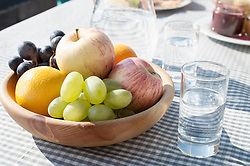 Full of fruits bowl and drinking water on dining table, Zillertal, Tyrol, Austria