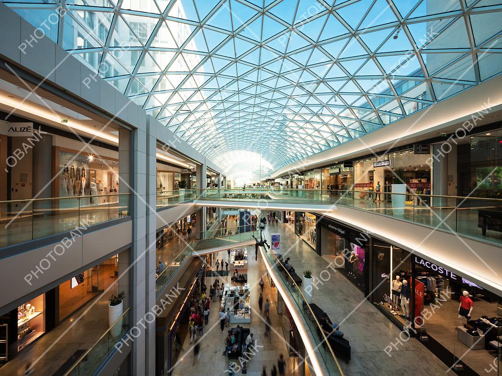 Interior of commercial center in Bratislava. Modern architecture