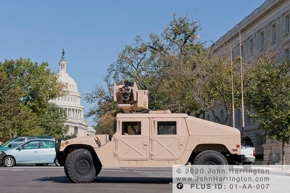 """In this photograph provided by Kongsberg Protech Systems is a demonstration of their """"Protector CROWS"""", remote weapons station on Tuesday, October 4th, 2011. Kongsberg Protech Systems invited to members of Congress, senators, and their staff to view and test out the system during their visit to Capitol Hill."""