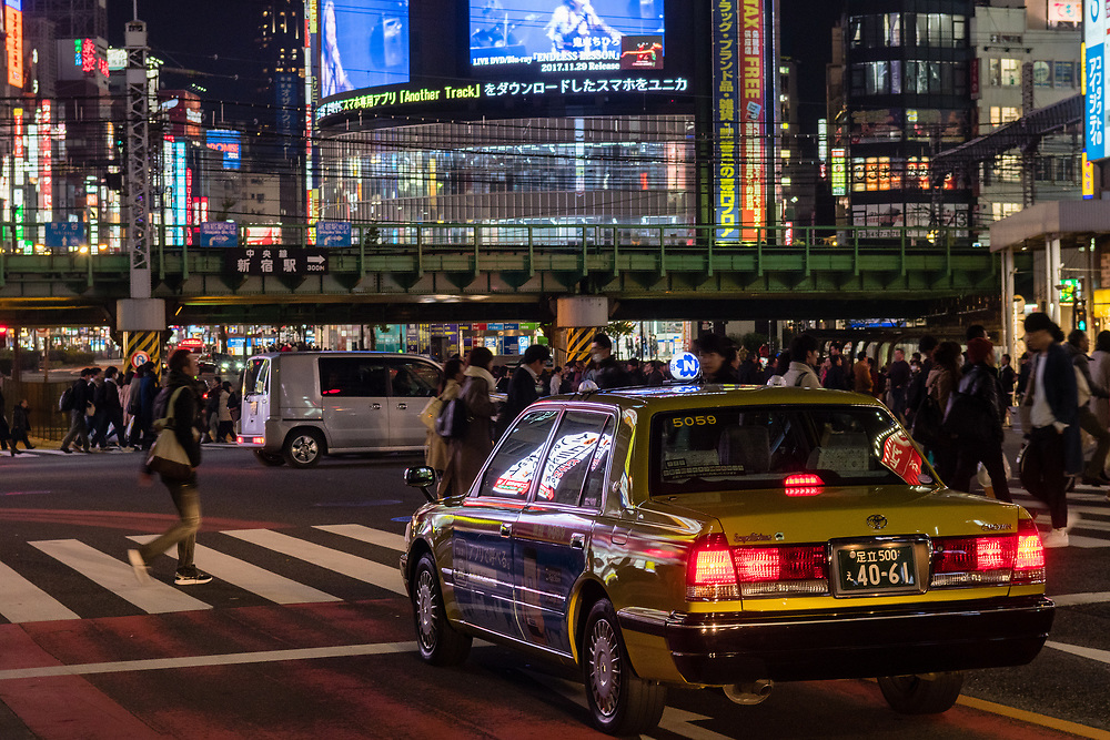 Taxi waiting at the lights in Tokyo.