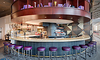 Architectural interior of 2nd floor lounge in Norfolk VA Hilton Hotel by Jeffrey Sauers of Commercial Photographics, Architectural Photo Artistry in Washington DC, Virginia to Florida and PA to New England