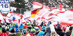 11.01.2014, Kulm, Bad Mitterndorf, AUT, FIS Ski Flug Weltcup, Probedurchgang, im Bild Feature Zuschauer WM 2016 // Feature Spectors World Champiosnship 2016 during the Trial jump of FIS Ski Flying World Cup at the Kulm, Bad Mitterndorf, <br /> Austria on 2014/01/11, EXPA Pictures © 2014, PhotoCredit: EXPA/ JFK