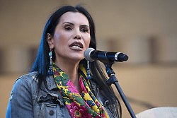 """October 23, 2016 - Los Angeles, California, United States - Native American activist and actress, Joanelle Romero, speaks during Climate Revolution Rally in Los Angeles, California. October 23, 2016. The rally is part of a series of """"Climate Revolution"""" rallies held across the country to inform people about issues related to climate change and social justice. (Credit Image: © Ronen Tivony/NurPhoto via ZUMA Press)"""