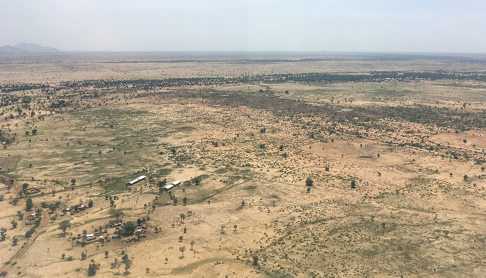 29 May 2019, Maroua, Cameroon: Aerial view of a part of the far north of Cameroon, not far from the city of Maroua.