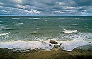 New York, Cutchogue, The Sound, Birch Beach, Long Island, North Fork, Storm waves crashing on shore