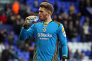 Oldham Athletic's goalkeeper Marl Oxley. Skybet football league 1match, Tranmere Rovers v Oldham Athletic at Prenton Park in Birkenhead, England on Saturday 1st March 2014.<br /> pic by Chris Stading, Andrew Orchard sports photography.