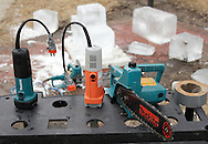 Wurtsboro, New York  -Ice carving tools on a work bench during the ice carving competition at the Wurtsboro Winterfest on Feb. 11, 2012.