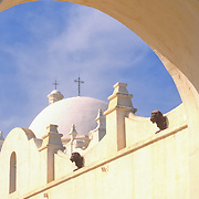 San Xavier del Bac Mission in Tucson, Arizona. The White Dove of the Desert.