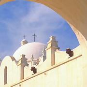 San Xavier del Bac Mission in Tucson, Arizona. The White Dove of the Desert.