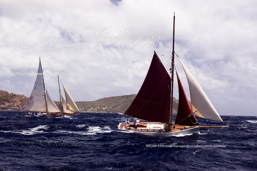 Holly Mae sailing in the Cannon Race of the Antigua Classic Yacht Regatta.