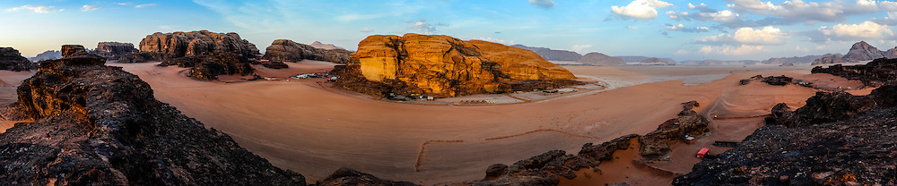 Jordan. Wadi Rum is also known as The Valley of the Moon. Panorama with bedouin camp.