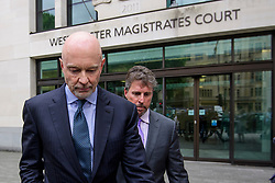 © Licensed to London News Pictures. 03/07/2017. London, UK. ROGER JENKINS leaves Westminster Magistrates Court in London where he is charged with conspiracy to commit fraud. Barclays executives John Varley, Roger Jenkins, Thomas Kalaris and Richard Boath were charged by the Serious Fraud Office following events that took place at the height of the financial crisis, when Barclays avoided a taxpayer bailout by raising £11. 8bn in emergency funds from a number of major investors, including Qatar. Photo credit: Ben Cawthra/LNP