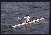 London. United Kingdom. GBR LM1X Peter HAINING, 1990 Scullers Head of the River Race. River Thames, viewpoint Chiswick Bridge Saturday 07.04.1990<br /> <br /> [Mandatory Credit; Peter SPURRIER/Intersport Images] 19900407 Scullers Head, London Engl
