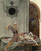 Camaralzaman Woke, And To His Amazement Found A Most Beautiful Damsel Colour illustration from the book '  More tales from the Arabian nights, based on the translation from the Arabic ' by Edward William Lane and Frances Jenkins Olcott, Publisher New York, H. Holt and company 1915