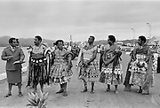 Chiefs and elders attending traditional native ceremony at tribal gathering in Fiji, South Pacific