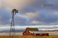 Old barn after clearing storm in the Mission Valley, Montana, USA