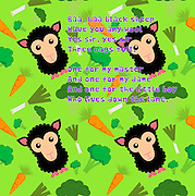 Nursery rhymes and childhood images series: Baa, baa black sheep<br /> Have you any wool Yes sir, yes sir Three bags full. One for my master And one for my dame And one for the little boy Who lives down the lane.