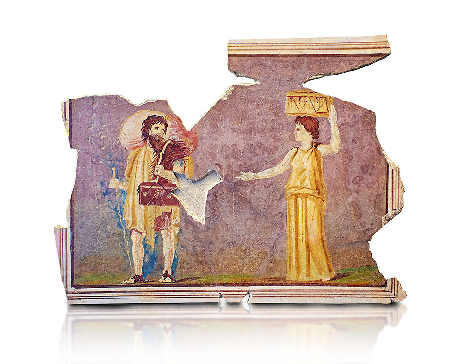 Roman fresco wall decorations from Villas of Rome. Museo Nazionale Romano ( National Roman Museum), Rome, Italy. Against a white background. .<br /> <br /> If you prefer to buy from our ALAMY PHOTO LIBRARY  Collection visit : https://www.alamy.com/portfolio/paul-williams-funkystock/national-roman-museum-rome-fresco.html<br /> <br /> Visit our ROMAN ART & HISTORIC SITES PHOTO COLLECTIONS for more photos to download or buy as wall art prints https://funkystock.photoshelter.com/gallery-collection/The-Romans-Art-Artefacts-Antiquities-Historic-Sites-Pictures-Images/C0000r2uLJJo9_s0