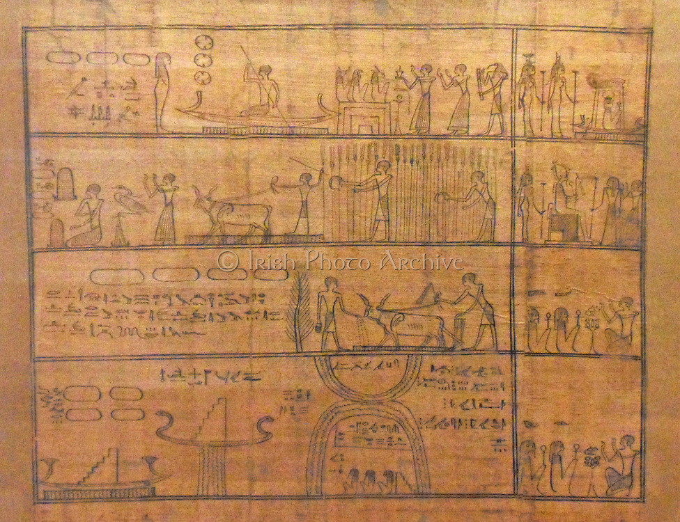 Papyrus fragment from chapter 110 of the Egyptian Book of the Dead. 'Djedhor working in the fields of the Afterlife'. Late Period, 664-332 BC. Depicts the Field of Offerings in which the deceased must work for nourishment.