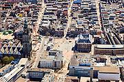 Nederland, Groningen, Groningen, 01-05-2013;<br /> Groningen-stad, centrum. Grote Markt, Martinitoren. Herestraat (re) (monopoly) is vrolijk versierd met oranje vaantjes. Het Stadhuis in het midden van de markt.<br /> Center of the city of Groningen, old town. Martinitoren (church) and the City hall.<br /> luchtfoto (toeslag op standard tarieven)<br /> aerial photo (additional fee required)<br /> copyright foto/photo Siebe Swart