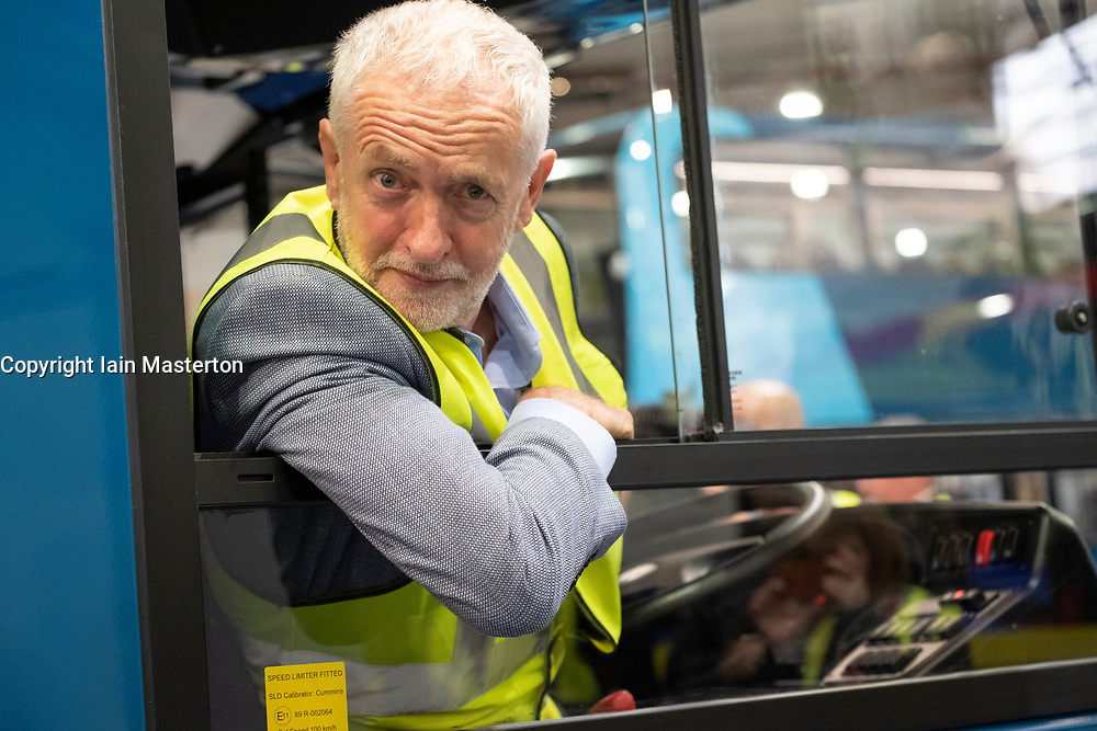 "Falkirk, Scotland, UK; 20 August, 2018. Labour Leader Jeremy Corbyn and Scottish Labour Leader Richard Leonard visit Alexander Dennis bus manufacturers in Falkirk as part of Labour's ""Build it in Britain"" policy."