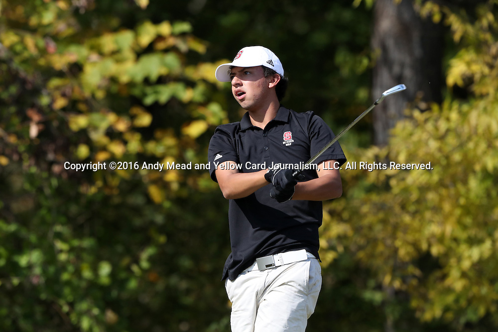 30 October 2016: North Carolina State University's Christian Salzer. The First  and Second Rounds of the 2016 Bridgestone Golf Collegiate NCAA Men's Golf Tournament hosted by the University of North Carolina Greensboro Spartans was held on the West Course at the Grandover Resort in Greensboro, North Carolina.