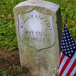 Columbia, Pa - June 11, 2016: A grave of a Federal Soldier that served in the United States Color Troops (USCT) in Zion Hill Cemetery.