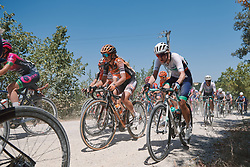 Eva Buurman (NED) and Lizzy Banks (GBR) at Strade Bianche - Elite Women 2020, a 136 km road race starting and finishing in Siena, Italy on August 1, 2020. Photo by Sean Robinson/velofocus.com