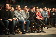 Basque politician Arnaldo Otegi (c) attends a tribute meeting of thousands of people organized by Sortu pro-indpendence party, four days after he left prison. Donostia (Basque Country). March 5, 2016. Arnaldo Otegi is a politician, member of the Basque patriotic left movement, who was arrested in 2009, acused of trying to rebuild outlawed Batasuna pro-independence party, and was given a ten year sentence. In may 2012 Otegi's sentence was reduced to 6 1/2 years by the Spanish Supreme Court, as they decided he was not part of ETA. (Gari Garaialde / Bostok Photo)
