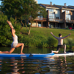 Yoga Class on Standup Paddle Boards on Lake Audubon