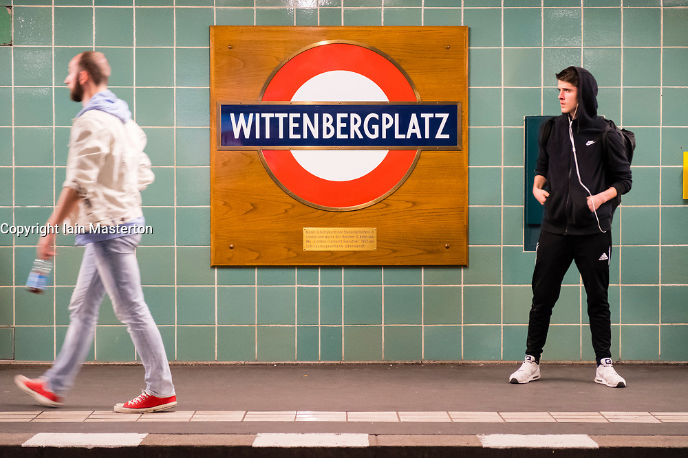 Wittenbergplatz U-bahn Underground railway station in Berlin, Special London Underground sign presented as a gift to celebrate Queen Elizabeth II Golden Jubilee in 1952. Berlin, Germany.