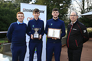 Ronan Mullarney, Tom McKibbin winner of the junior Bridgestone Order of Merit Rob Brazill Senior order of Merit pictured with Colm Conyngham Bridgestone Ireland at the presentations in the GUI National Academy, Maynooth, Kildare, Ireland. 30/11/2019.<br />