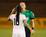 CHATTANOOGA, TN - AUGUST 19:  Midfielder Katherine Alvarado #10 of Costa Rica argues with head referee Margaret Domke during the friendly match against the United States at Finley Stadium on August 19, 2015 in Chattanooga, Tennessee.  (Photo by Mike Zarrilli/Getty Images)