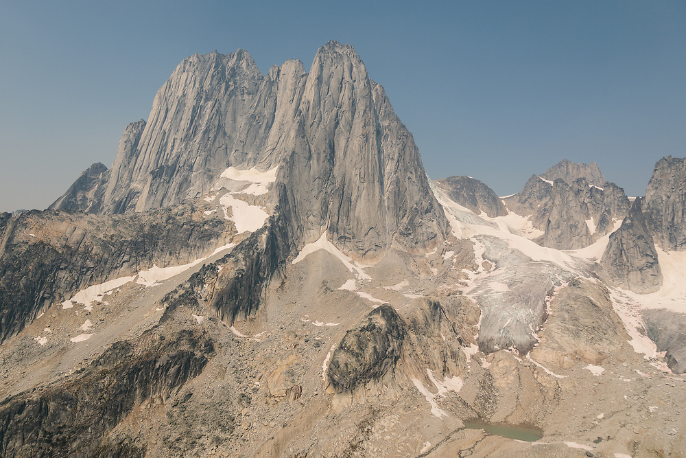 The Howser Towers while flying into the Bugaboos
