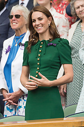© Licensed to London News Pictures. 13/07/2019. London, UK. HRH The Duchess of Cambridge watches the ladies singles finals on centre court tennis on Day 12 of the Wimbledon Tennis Championships 2019 held at the All England Lawn Tennis and Croquet Club. Photo credit: Ray Tang/LNP