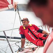 Leg Zero, Rolex Fastnet Race: start on board MAPFRE, Xabi Fernandez Looking to other boats after loose 2 positions. Photo by Ugo Fonolla/Volvo Ocean Race. 07August, 2017